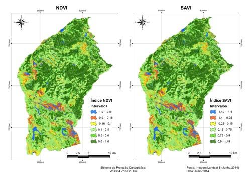 Mapas dos Índices de Vegetação NDVI e SAVI com máscara do limite municipal (IBGE) referente a imagem Landsat-8 datada em 25/06/2014.
