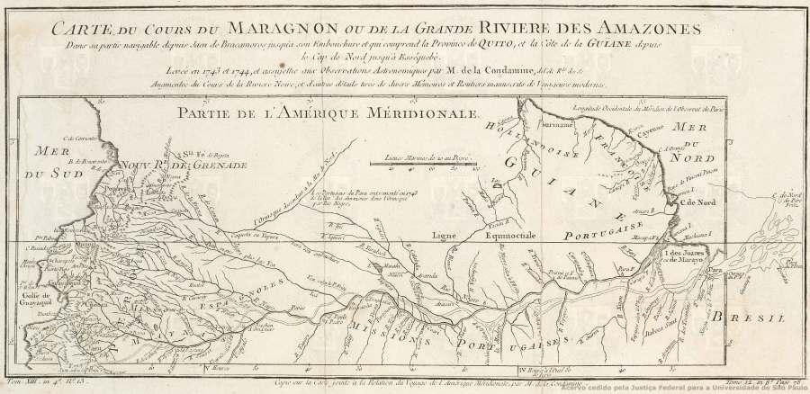 Carte du Cours du Maragnon ou de la Grande Riviere des Amazones dans sa partie navigable depuis Jaen de Bracomoros jusqu'à son embouchure et qui comprend la Province de Quito, et la Côte de la Guiane depuis le Cap de Nord jusqu'à Esséquebè, ANO 1745