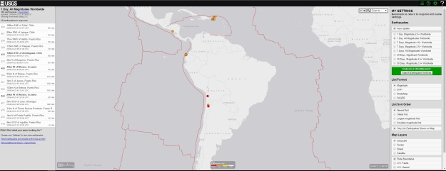 Day, All Magnitudes Worldwide Earthquakes (USGS)